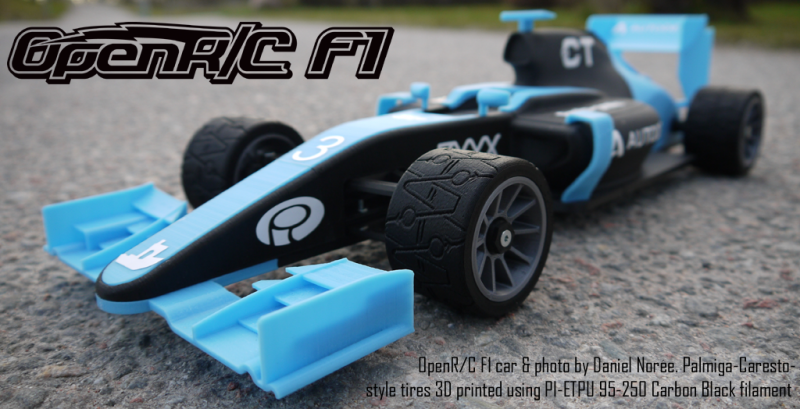 OpenR/C F1 car & photo by Daniel Noree. Palmiga-Caresto- style tires 3D printed using PI-ETPU 95-250 Carbon Black filament